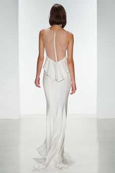 Minimalist Amsale wedding dress with an illusion back // Top Wedding Dress Trends for 2015 - Part 1
