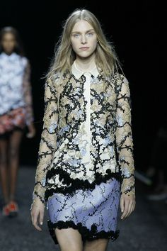 Designer @marykatrantzou brilliantly pairs a lavender marbled skirt with an opulent blouse at #LFW #SS15