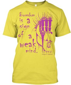 A statement of philosophy encouraging the reader to find what is interesting instead of declaring boredom and giving up on any subject along with the artwork of Roger E. Anderson -- a creepy skull, with something leaking from an eye, wild hair, and four fingers draped over its forehead.Now in PINK!Enjoy.