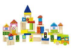 Blokkenton Stad (75 delig)  Deze prachtige blokkenton met 75 blokken in allerlei kleuren, vormen en maten geeft uw kind oneindige bouwmogelijkheden. De blokken hebben als thema stad maar een kasteel of boerderij kunnen natuurlijk in een handomdraai gebouwd worden. Kortom dat wordt uren stapelen, bouwen en spelen met deze prachtige set blokken.  Afmetingen: blokmaat 3 cm   Verpakt in een mooie opbergton.