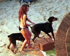 Famous people (Elizabeth Hurley) + Dogs