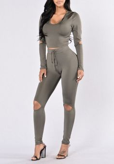 Dark Grey Plain Hollow-out Two Piece Crop Hooded Drawstring Waist Bodycon Casual Jumpsuit