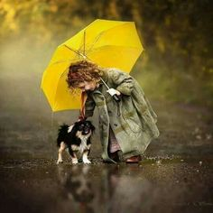 Rainy days and bright ones, too, are nicer when a friend's with you Color Splash, Color Pop, Splash Art, Walking In The Rain, Singing In The Rain, Happy Together, Dogs And Kids, Animals For Kids, I Love Rain
