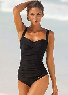 Smooth black swimsuit with a ruffled section on the front that crosses over the chest to conceal your curves. Play around with the straps to tailor the fit, and you tummy is further protected by a shaping insert and an elasticated under bust. Note, this swimwear style comes with soft cups.Lascana Swimsuit Features: Colour: Black Washable 80% Polyamide, 20% Elastane Lining: 100% Polyamide Bodice front: 85% Polyamide, 15% Elastane Elastic under bust Adjustable straps Bodice insertProtect your…