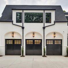 60 modern & unique dream house exterior designs for your inspiration 57 House Design, Garage Door Design, House Styles, Exterior Design, Modern Farmhouse, Home, Custom Homes, Garage Design, House Exterior