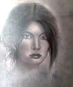 Técnica utilizada carvão sobre papel cansom, tema retrato.