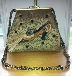 Mary Frances Beaded High Heel Feather Shoe Purse Bag  #MaryFrances #HandbagPurse