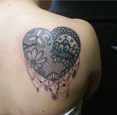 Lace Dreamcatcher Heart Tattoo