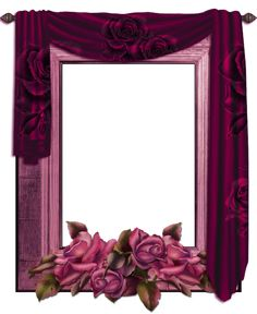 Transparent PNG Frame with Curtain and Roses