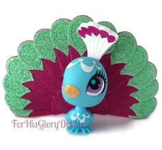 Littlest Pet Shop #3006 Sparkle Glitter Sweetest Peacock Bird HTF Extremely Rare