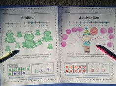 FREEBIE--This two page addition and subtraction word problem freebie allows students to use a number line, ten frame, and an equation to solve the two problems.