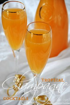 Tropical Champagne Cocktails  Ingredients    2 cups orange juice  2 cups tropical fruit punch (I used tropical V8 Splash)  1 cup peach schnapps  1 bottle champagne, chilled  Instructions    In a large pitcher, mix OJ with punch and schnapps. Refrigerate until ready to serve. When ready to drink, add champagne to pitcher and serve! ENJOY!