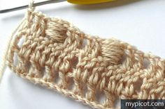 Very simple openwork pattern with puff stitch bobbles Crochet Borders, Crochet Diagram, Crochet Stitches Patterns, Free Crochet, Stitch Patterns, Knitting Patterns, Crochet Jacket, Crochet Cardigan, Crochet Hook Sizes