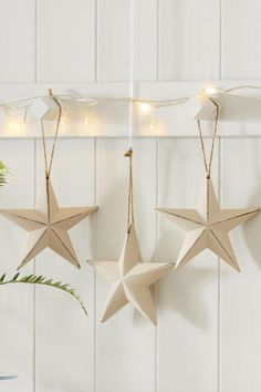 Buy Set Of 3 Wood Stars from the Next UK online shop