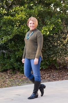 Savvy Southern Chic: Olive and blue, mock neck sweater, riding boots, jeans