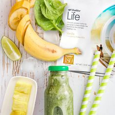 My favorite way to get greens! It's delicious, you have to try it.   Tropical Green Shake 2 scoops Vanilla #Shaklee Life Energizing Shake 1 cup frozen chopped greens such as collards, kale, or spinach 1/2 cup frozen pineapple 1/2 cup frozen ripe banana 1 1/2 cups unsweetened almond or coconut milk