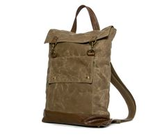 Backpack in Sepia Brown Waxed Canvas and Brown Leather Accents - Rucksack Bag - Back to School - Ready to Ship