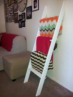Remove hardware to turn bunk bed ladder into throw holder.