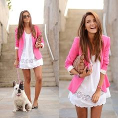 love white sun dresses, especially with a scalloped hem, finished off with a crisp blazer...hot pink = fabulous!