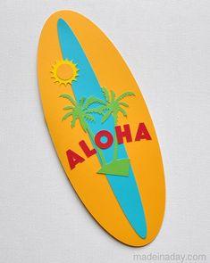 Aloha Surboard Card Silhouette Cameo madeinaday.com