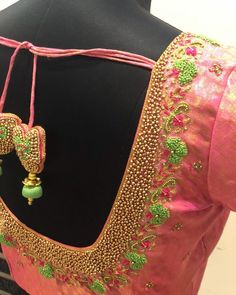 For my lovely Light pink hand embroidered blouse for the win! Kids Blouse Designs, Hand Work Blouse Design, Simple Blouse Designs, Stylish Blouse Design, Blouse Designs Silk, Blouse Patterns, Hand Designs, Latest Maggam Work Blouses, Wedding Saree Blouse Designs
