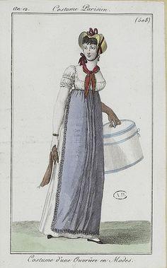 """1804, Costume Parisien. """"Costume d'une Ouvrière en Modes."""" Translation: Clothing of a dressmaker. Nice!"""