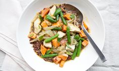 Thai Curry with Sweet Potato, Green Beans, and Chicken. Oh how I love curry!! I make this with yellow curry instead of green. Not to mention the health benefits of turmeric…the primary ingredient in curry.