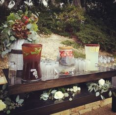 Pre-Ceremony Refreshments #InfusedWater #Wedding #Catering #California #MontereyWeddings #ClassicCatering