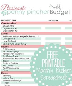 Free Printable Budget Spreadsheet - columns to track actual spending versus…