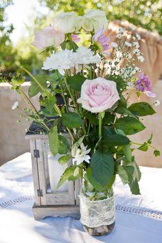 Rustic Lantern and Rose Vase Decor