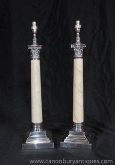 Photo of Pair Regency Table Lamps Corinthian Columns Silver Plate Porcelain Lights Corinthian Columns, Antique Table Lamps, Column Design, Lamp Bases, Regency, Silver Plate, Porcelain, Plates, Lights