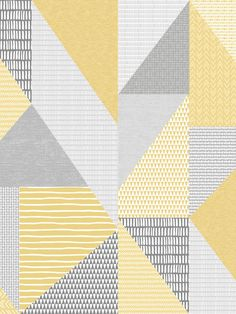 This Larsson Geo Wallpaper is part of the Catherine Lansfield Collection and will make a unique addition to any room of your home with its retro style. The design features triangles filled with various dainty patterns made using a painterly effect including stripes, triangles, circles, obscure rectangles and arrows in tones of ochre, grey and white, set on a high quality thick wallpaper with a subtle fabric effect finish. Easy to apply by pasting the wall, this wallpaper has a soft matte… Paper Wallpaper, Thick Wallpaper, Geometric Wallpaper, Pastel Colors, Bold Colors, Colours, Drops Patterns, Stripes, High Quality Wallpapers