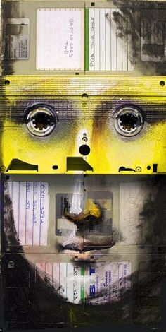 Nick Gentry: an artist who uses floppy disks, cassettes and VCR tapes to make   pictures.