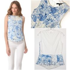 """TIBI Blue & White Floral Peplum Sleeveless Top As seen on ShopBop website. TIBI """"Daisies Sleeveless Yoked Top"""" in a Light Blue & White Floral Pattern. Structured style front with flared peplum design at waist and asymmetrical hemline. Jersey knit white back paneled back with hidden zipper closure. 100% cotton lined, and 53% silk/47% linen shell/6% elastane. Size US 2 or Small. Measurements: 32"""" bust, 27"""" waist, this top gives stretch. Length from shoulder to hem 22"""". NWOT. Tibi Tops"""