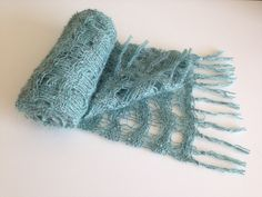 Lightweight Tiffany Blue Lattice Scarf with Black and Silver Flecks by WraptWeaving on Etsy Woven Scarves, Summer Scarves, Tiffany Blue, Fiber Art, Hand Weaving, Felt, Tapestry, Throw Pillows, Trending Outfits