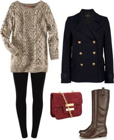 """""""Leaf Love"""" by leeannm on Polyvore #fashion #fall #outfit #peacoat #ridingboots #sweater"""