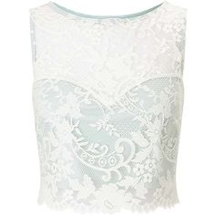 Miss Selfridge PETITE Mint Lace Top (¥6,900) ❤ liked on Polyvore featuring tops, crop top, shirts, mint green, petite, white shirt, cut-out crop tops, mint crop top, petite tops and white top