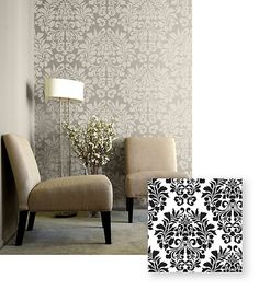 One Kings Lane - Get Inspired - Fabric Damask Allover Stencil, Large