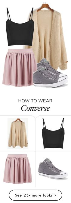 """""""Basic girl"""" by cfull on Polyvore featuring Converse and Boohoo"""