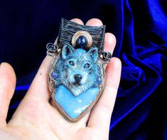 Spirit Wolf  Angelite Tanzanite & Blue by MultiverseWithin on Etsy