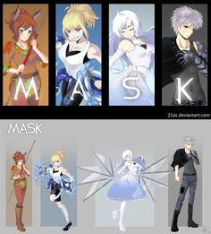 Here is the finished picture of Team MASK. Character Concept, Character Art, Character Design, Character Outfits, Rwby Oc, Team Rwby, Dc Anime, Ruby Anime, Rwby Pyrrha
