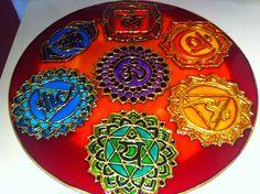 Mandalas en vidrio - Geometrias del Alma: Chakras juntos