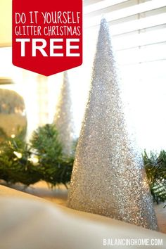 DIY Glitter Christmas Tree - So simple and fun! Christmas And New Year, All Things Christmas, Holiday Fun, Christmas Holidays, Christmas Ideas, Holiday Ideas, Merry Christmas, Holiday Foods, Christmas Goodies