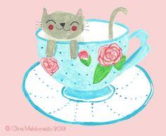 Teacup cat © Gina Maldonado 2013