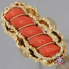 Vintage Signed Corletto Coral Ring