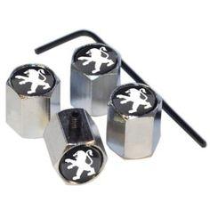 1234avec buy poussière Capuchon de protection pour pneus Valve, de protection anti-vol, pour Peugeot, en métal, chromé