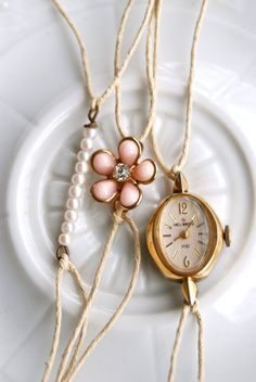 A moment in time.vintage style stacking string bracelet set. Tiedupmemories