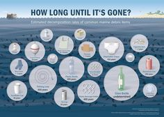 Was ist Plastik? Kunststoff Herstellung, Recycling & Co Disintegration time of plastic garbage in the sea and in the environment Wow Journey, Method Soap, Great Pacific Garbage Patch, Marine Debris, Ocean Pollution, Plastic Waste, Plastic Bags, Plastic Items, Garbage Waste