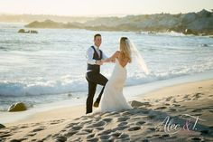 What a beautiful day! Romantic Beach Photos, Wedding Ceremony, Reception, What A Beautiful Day, Bride, Sunset, Wedding Dresses, Photography, Fashion