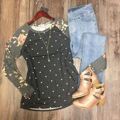 French Terry Polka Dot Top w/Floral Sleeves